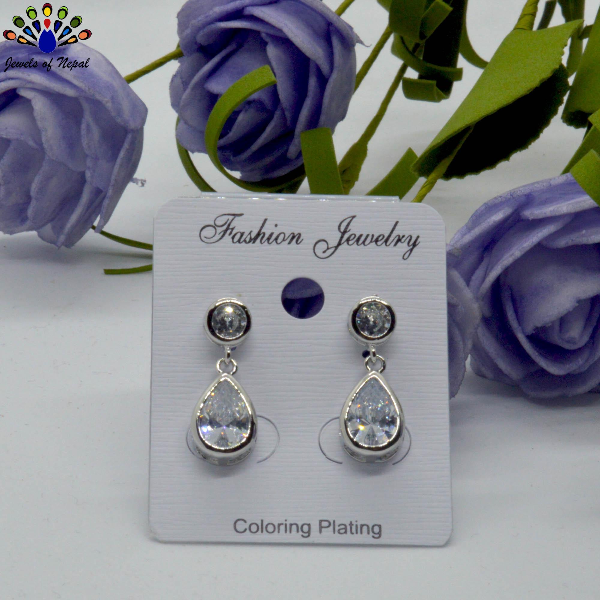 Silver Toned Stone Drop Design...