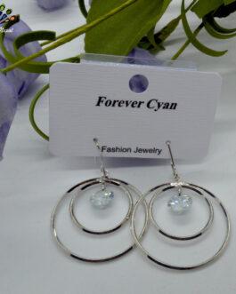 Silver Toned Double Circular S...