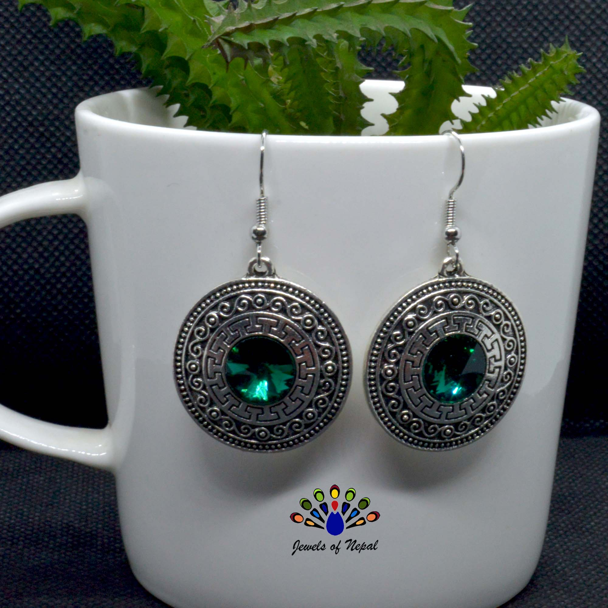 Round Tribal Patterned Stoned ...