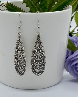 Silver Toned Dot Textured Earr...