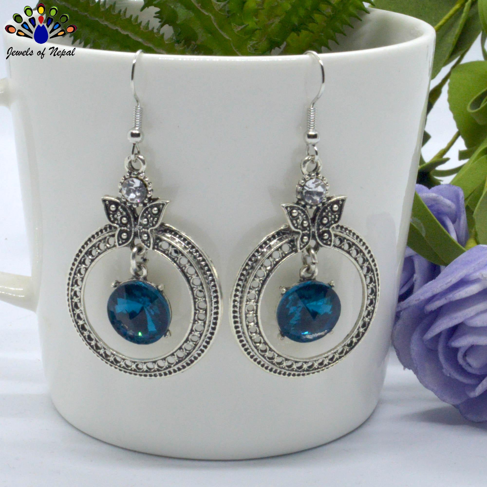 Silver Toned Stone Circular Dr...