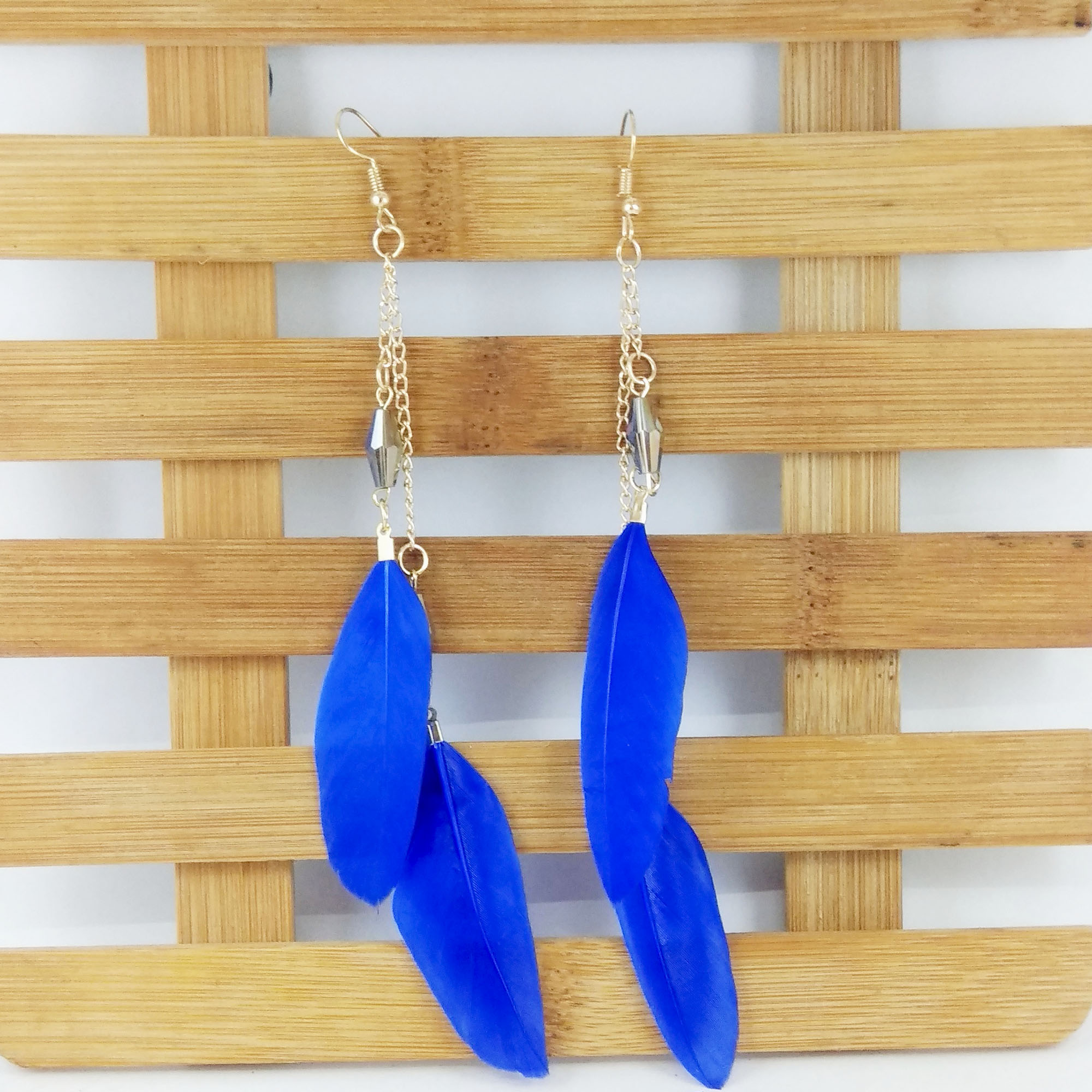 Double Feather Drop Crystal Ho...