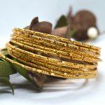 Gold Plated Cut Patterned Bang...
