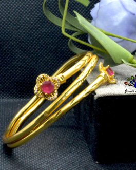 24K Gold Plated Red/White Ston...