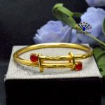 24K Gold Plated Red Stone Ador...