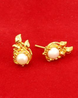 Gold Plated Faux Moti Adorned Leaf Style Ear Studs For Women