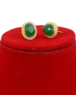 Faux Emerald Adorned Gold Plated Oval Ear Studs For Women