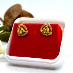 Gold Plated Stoned Triangular Designed Ear Studs For Women