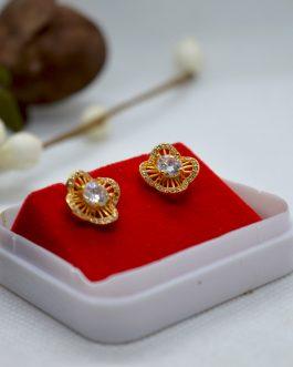 Gold Plated White Stoned Flower Designed Ear Studs For Women
