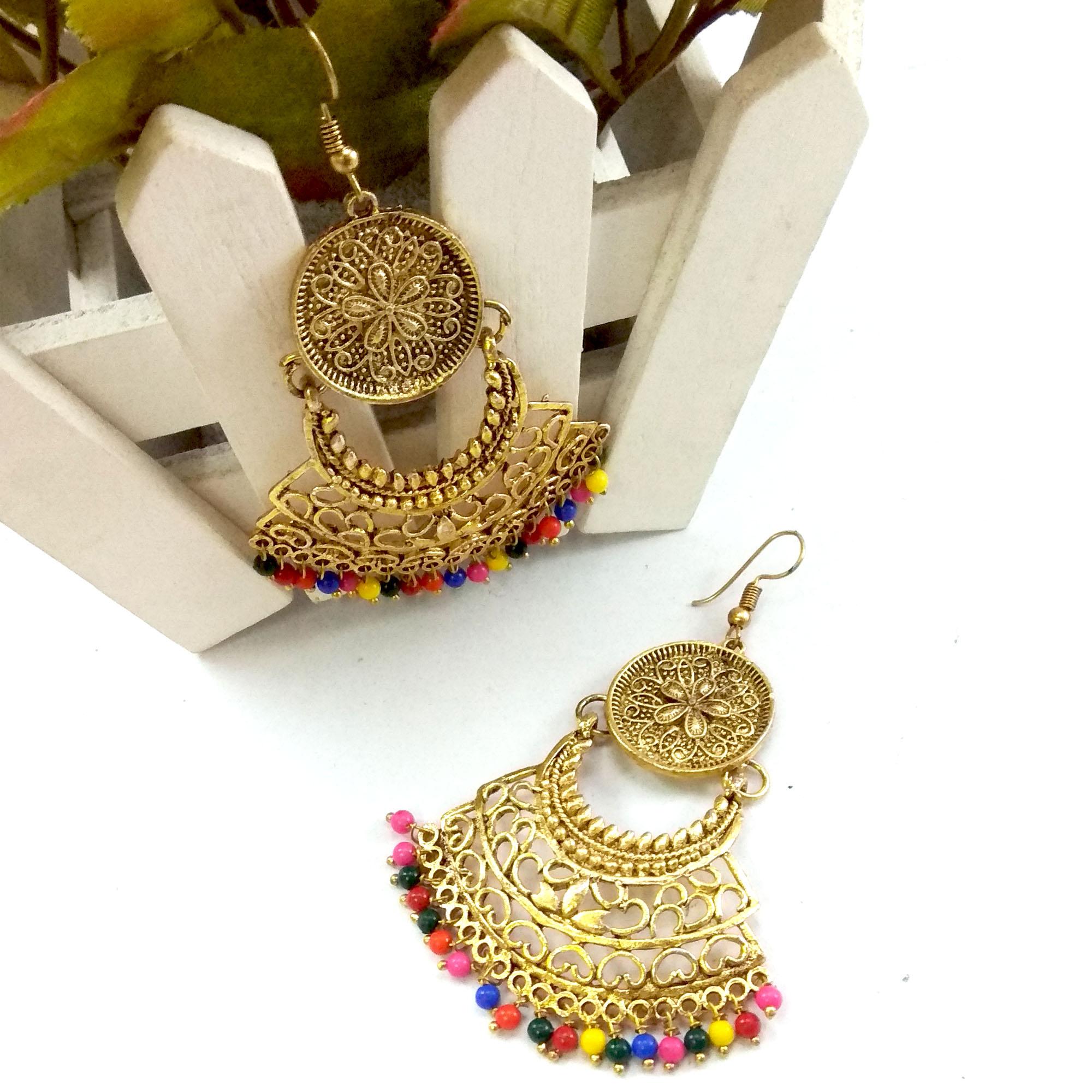 Gold Toned Multicolored Chandb...