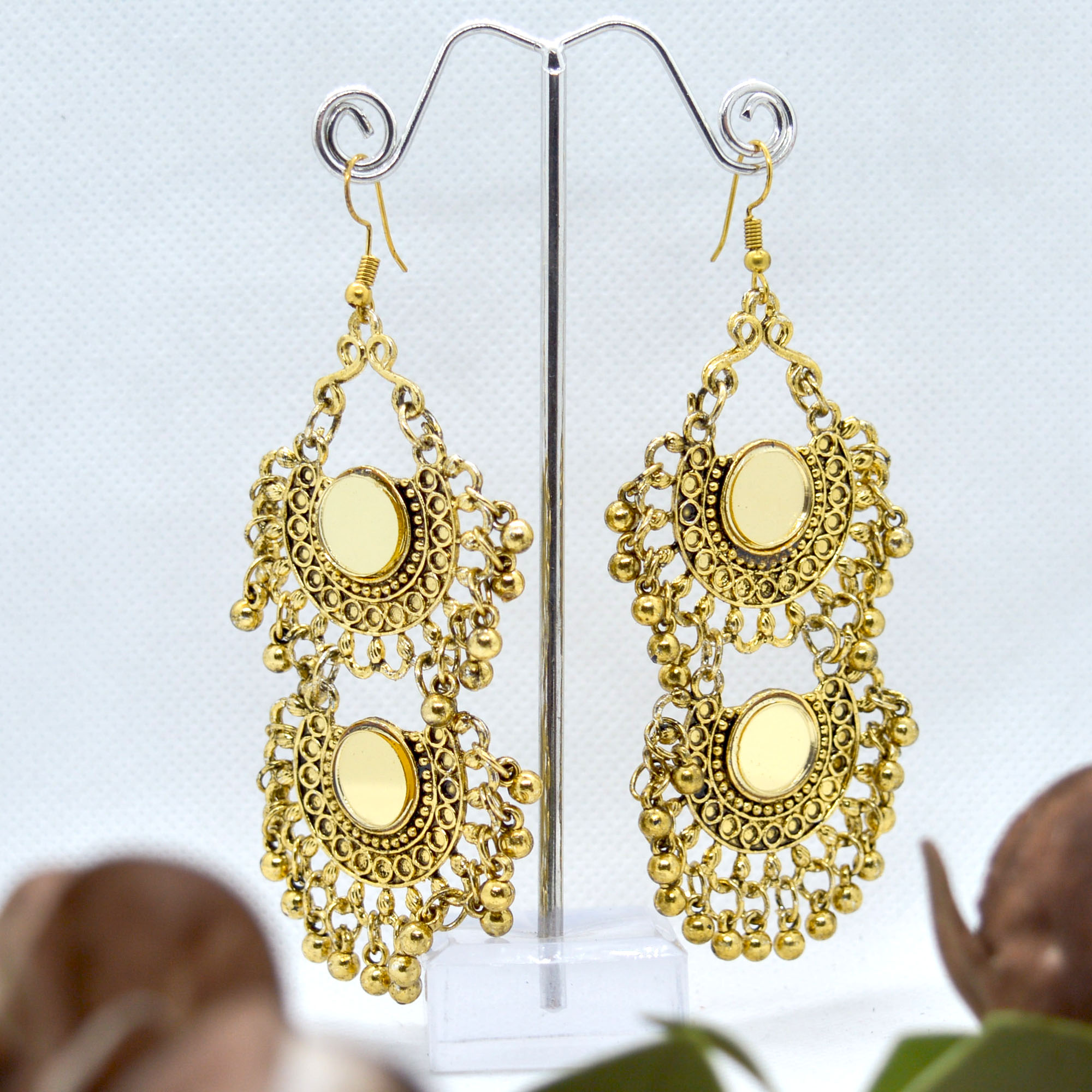 Golden Mirror Studded Double L...