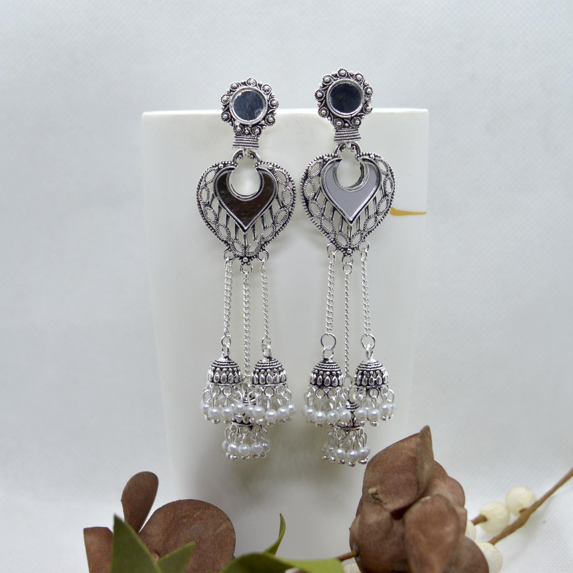 Silver/White Mirror Adorned Ch...