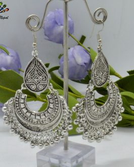 Silver Toned Chandbali Style E...