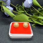 Gold Plated Stone Studded Round Ear Studs For Women