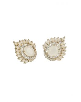 Stone Studded Petals Designed Ear Studs For Women