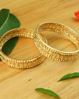 24K Gold Plated Leaf Design Bangles For Women – 2 Pcs