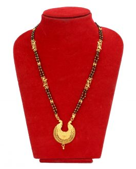 Chandbali Designed Gold Plated Black Potey Beaded Mangalsutra Necklace For Women