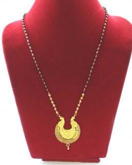 Gold Plated Golden/Black Ramleela Designed Pendant Mangalsutra Necklace For Women