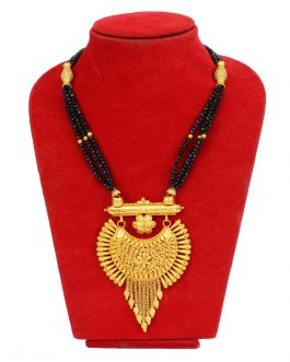 Chandbali Designed Gold Plated Black Crystal Beaded Mangalsutra Necklace For Women