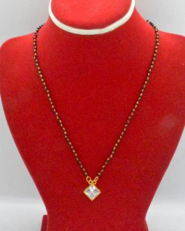 Gold Plated Black Potey Beaded Stoned Nagin Serial Design Mangalsutra For Women