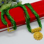24K Gold Plated/ Green Long Po...