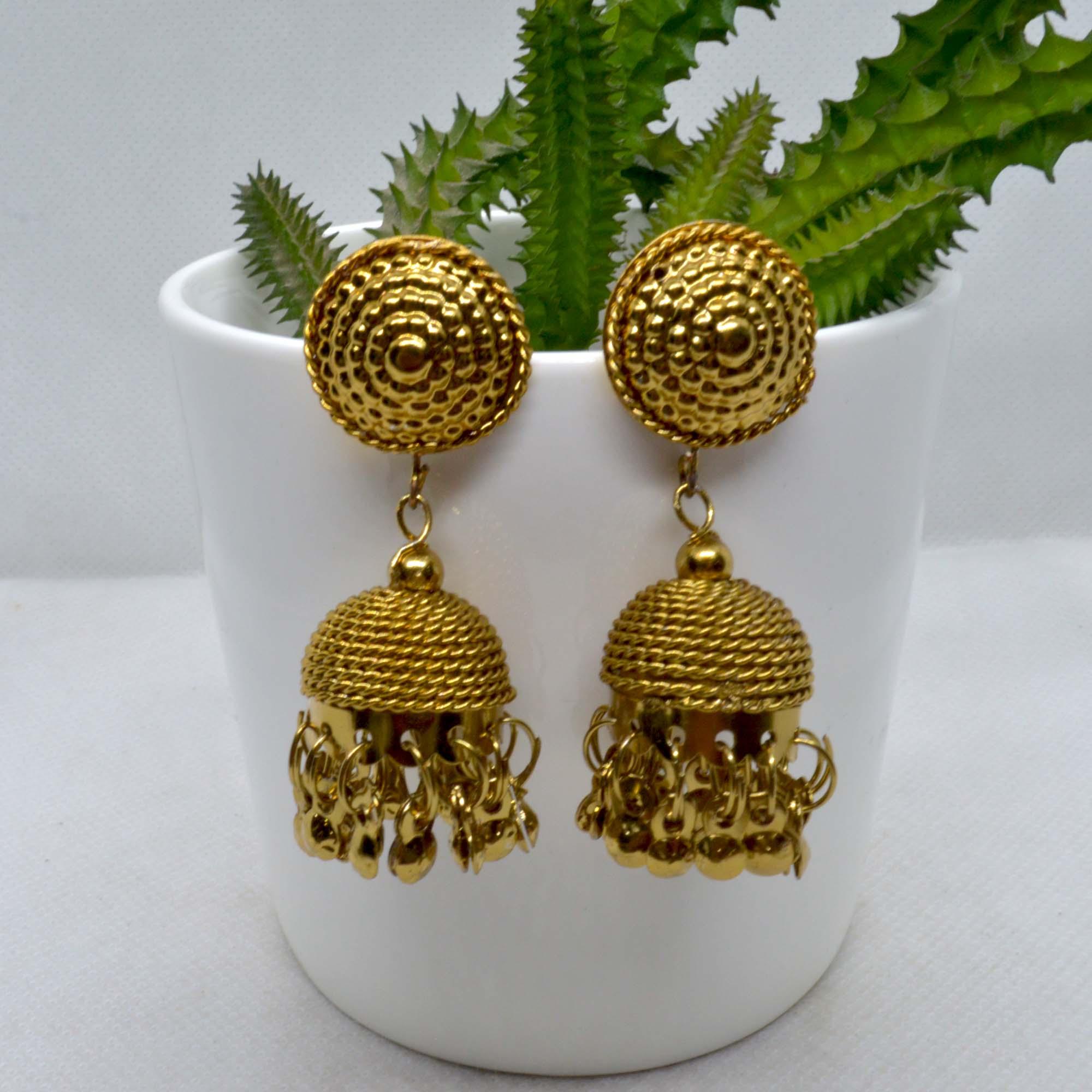 Golden Textured Jhumki Drop Ea...