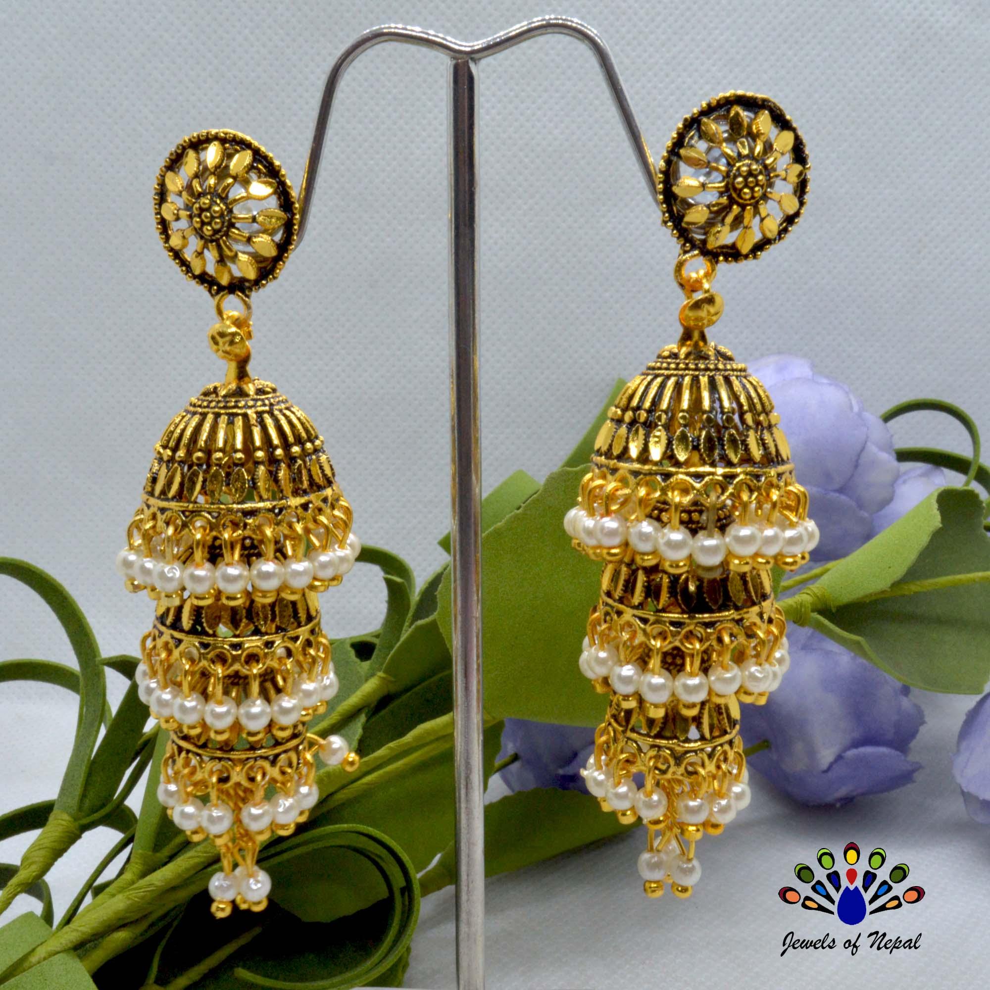 Golden Long Tiered Faux Moti Pinjada Drop Earrings For Women