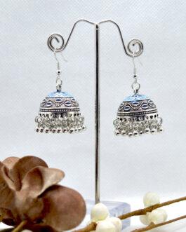 Silver Toned Ethnic Style Pinjada Drop Earrings For Women
