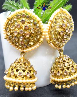 Stones & Faux Pearl Beaded Pinjada Earrings For Women