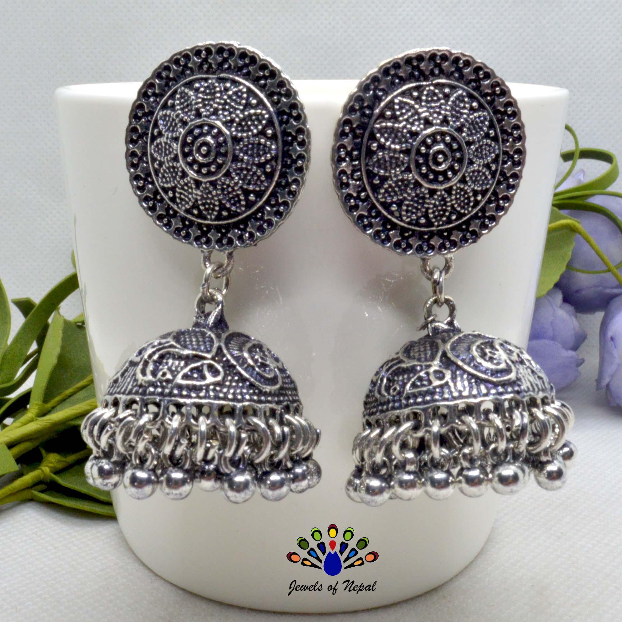 Silver Oxidized Toned Ethnic Style Pinjada Earrings For Women