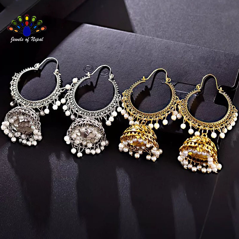 Antique Golden Gypsy Loop Pinjada Jhumka Earrings For Women