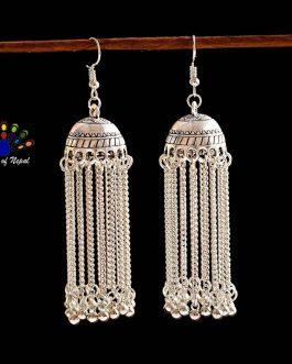 Silver/Golden Ethnic Gypsy Style Pinjada Jhumka Earrings For Women