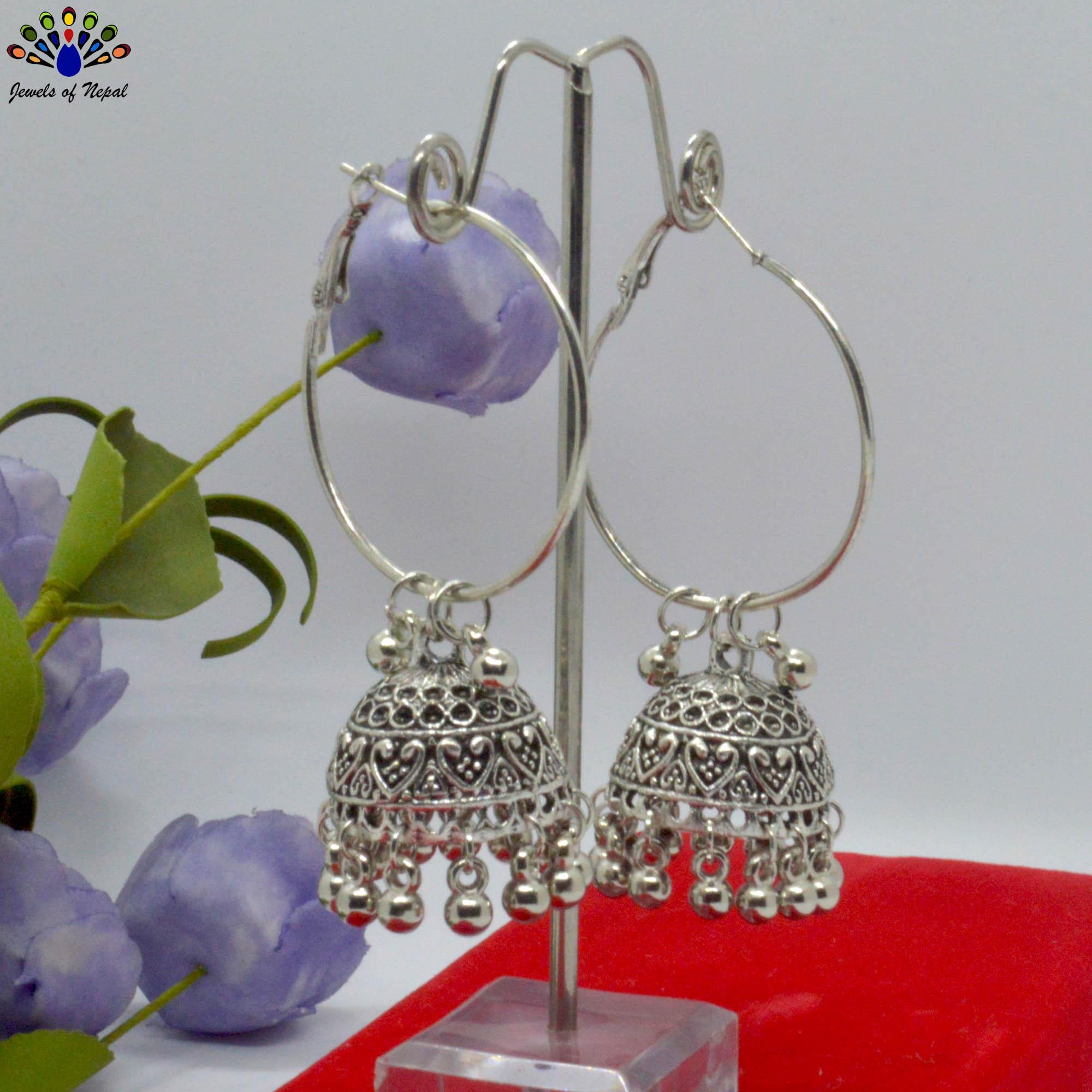 Silver Toned Ethnic Style Loop Pinjada Earrings For Women