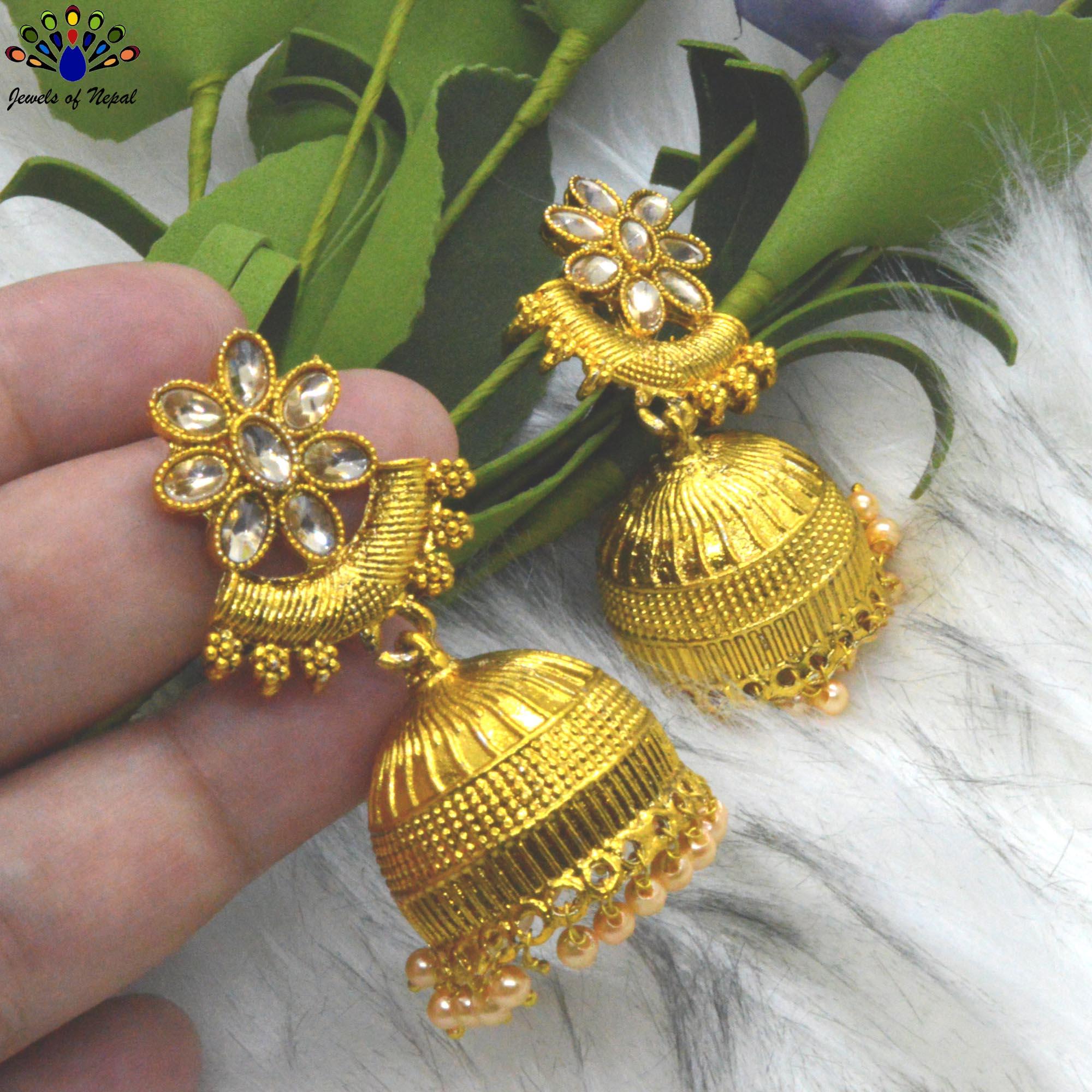 Stone Studded Golden Pinjada Earrings