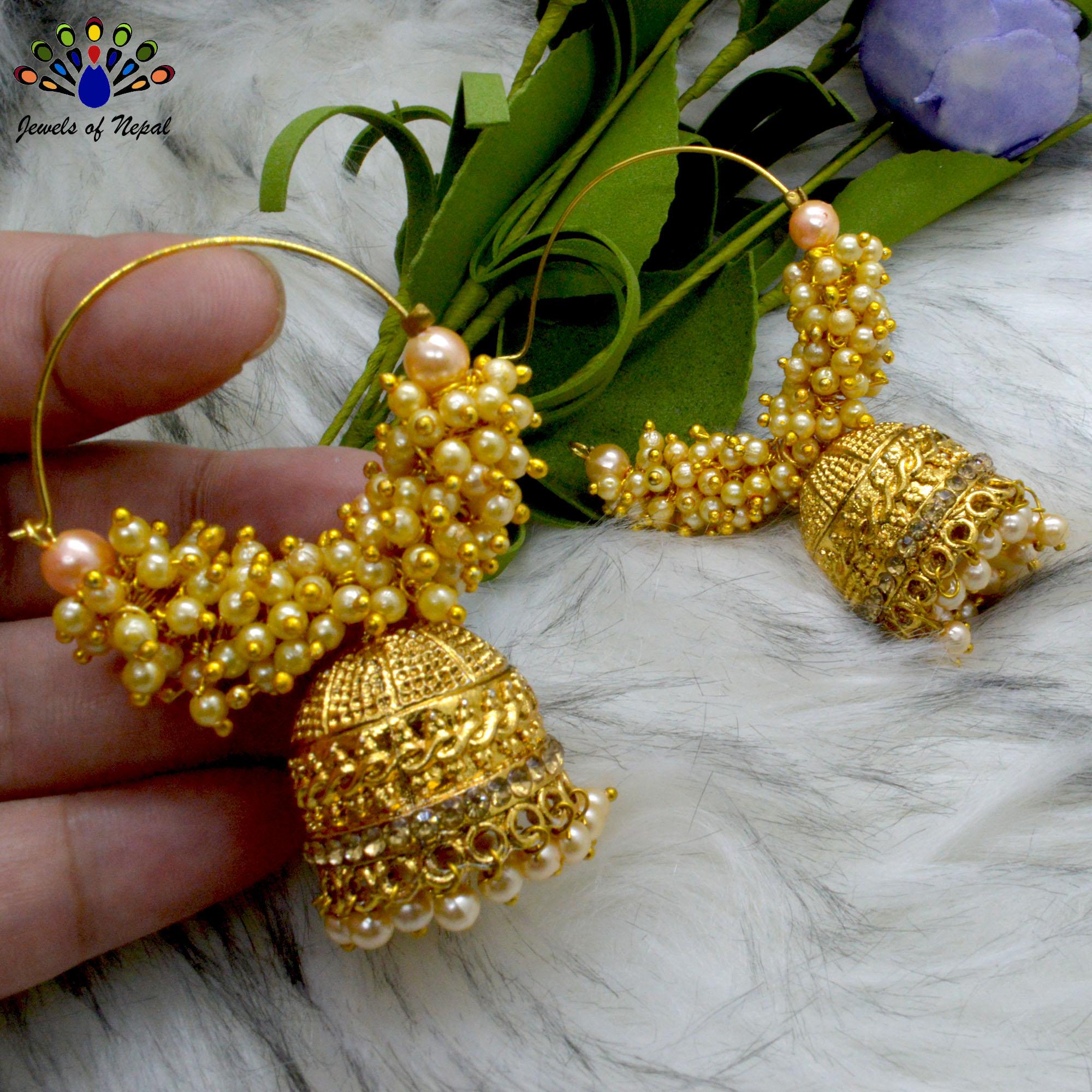 Stone Studded Golden Loop Pinjada Earrings