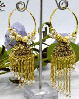 Chain Tasseled Golden/White Loop Pinjada Earrings