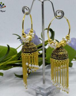 Chain Tasseled Golden Loop Pinjada Earrings