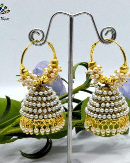 Simulated Pearl Beaded Golden/White Loop Pinjada Earrings