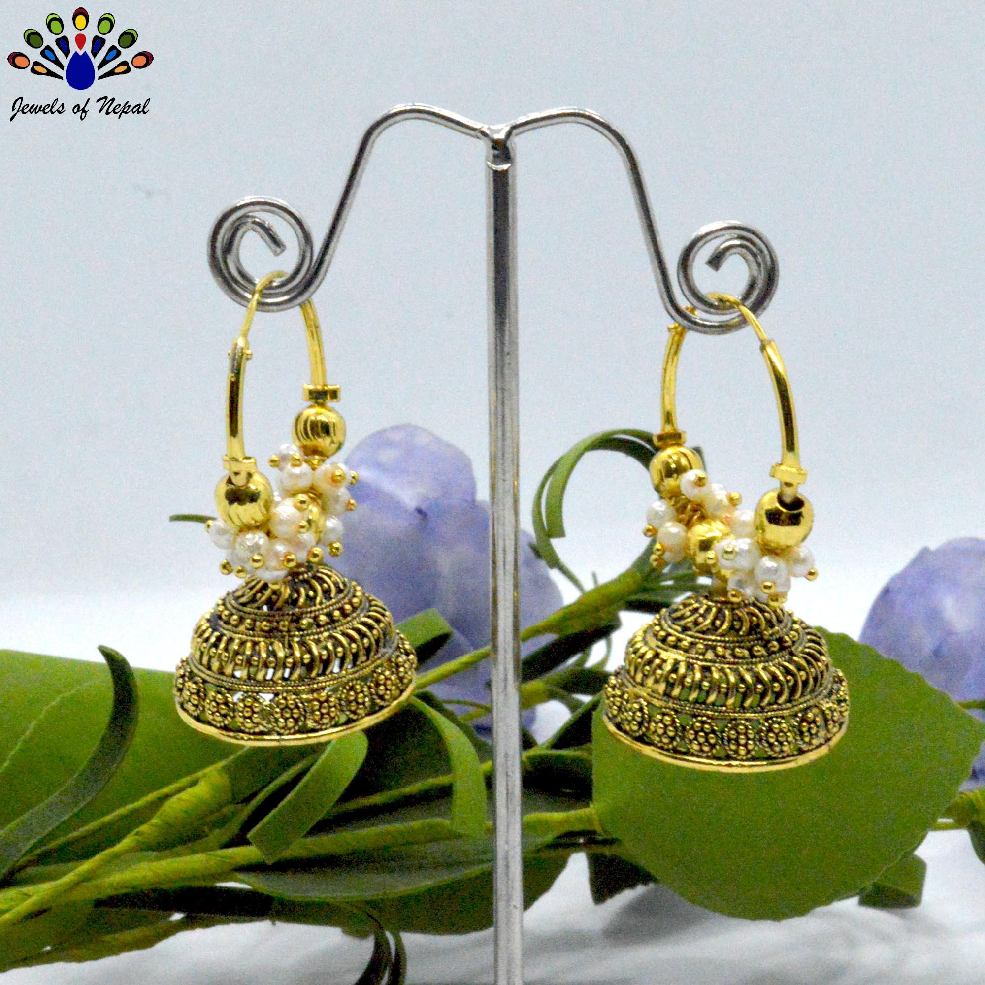 Golden/White Loop Pinjada Earrings