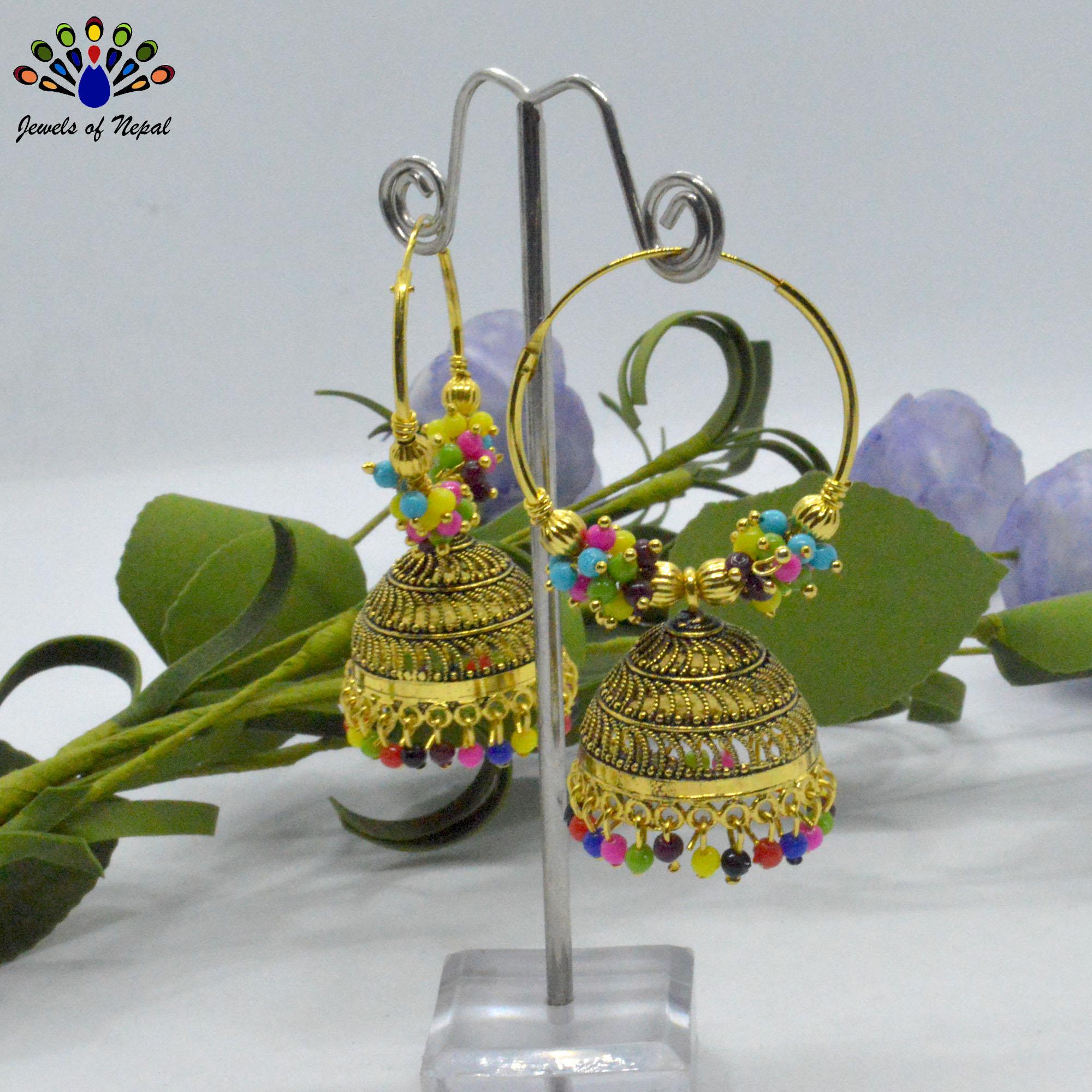 Golden/Multicolored Loop Pinjada Earrings
