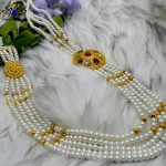 Faux Navratna Stones & Pearl Beaded Chandrahaar Necklace For Women