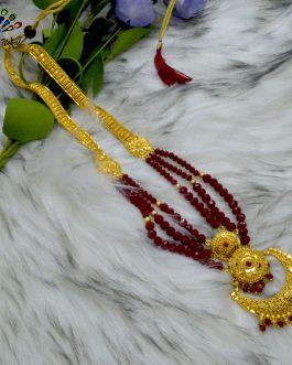 Chandbali Designed Gold Plated Faux Moti / Crystal Beaded Adjustable Ranihaar For Women