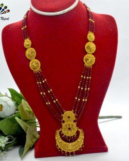Chandbali Designed Gold Plated Red Crystal Beaded Adjustable Ranihaar For Women