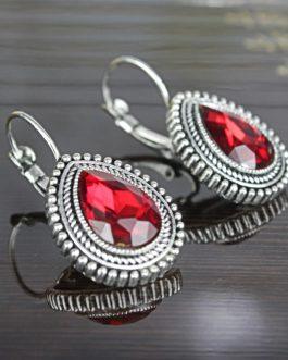 Red Drop Stoned Ethnic Earrings For Women