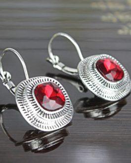 Red Ethnic Stone Studded Earrings For Women