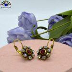 Red/Black Floral Hook Earrings For Women