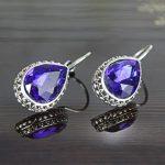 Royal Blue Drop Stoned Lever-Back Earrings For Women