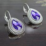Royal Blue Shiny Drop Lever-Back Earrings For Women