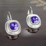 Royal Blue Shiny Stone Studded Lever-Back Earrings For Women