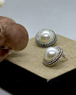 Silver/White Round Simulated Pearl Stud Earrings For Women